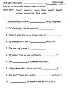 dipthong worksheets images worksheets word