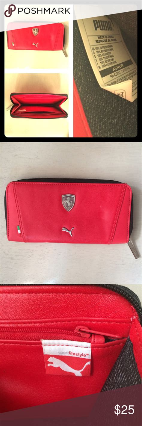 Poshmark makes shopping fun, affordable & easy! Puma Ferrari Red Wallet Red wallet with different compartments. It has a mark on the front ( see ...