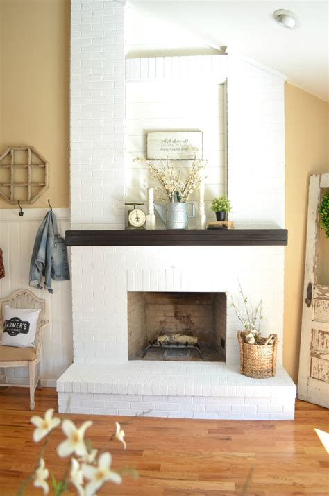 how to paint a fireplace how to paint a brick fireplace little vintage nest