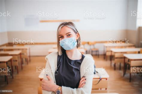 Portrait Of A High School Student With A Protective Mask ...
