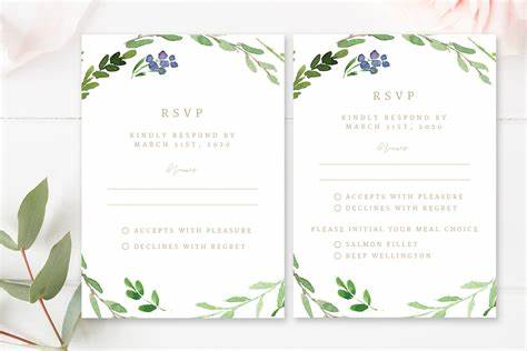 Greenery Wedding RSVP Cards Creative Photoshop Templates