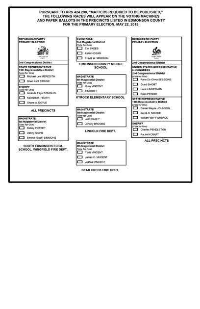 edmonson county primary ballot  voters guide