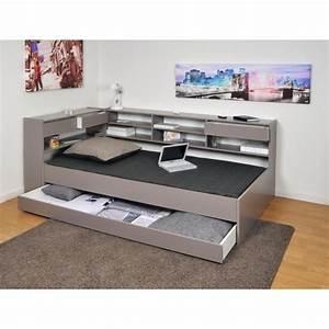 Roller lit etageres enfant 90x190 finition gris achat for Luminaire chambre enfant avec matelas paris 14
