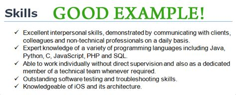 Special Skills In Cv by Cv Skills Exle