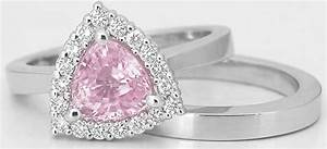 trillion light pink sapphire engagement ring with matching With light pink wedding rings