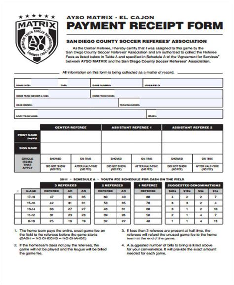 sample receipt forms   ms word