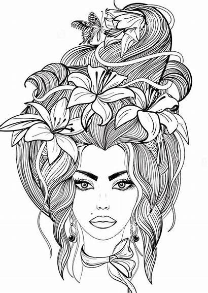 Coloring Hair Flowers Butterfly Portrait Pages Adult