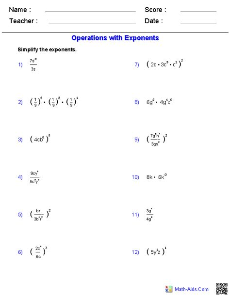 operating with exponents worksheets grade 9 operations with exponents worksheets math aids