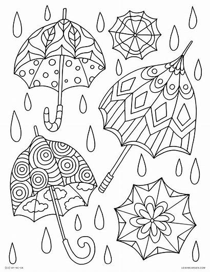 Coloring Spring Pages Adults Summer Umbrellas Printable