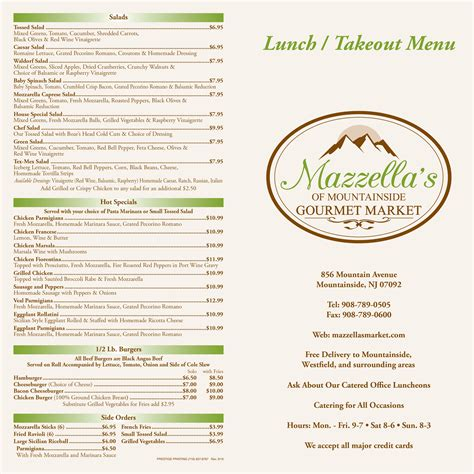 Lunch & Dinner Menu | Mazzella's Gourmet Market