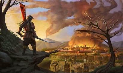 Samurai Fantasy Katana Fire Sword Artwork Desktop