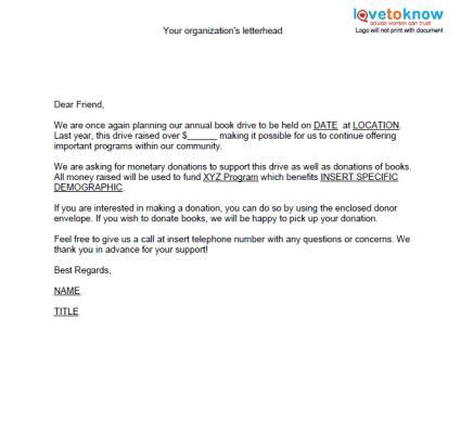 donation letter template sles of non profit fundraising letters lovetoknow