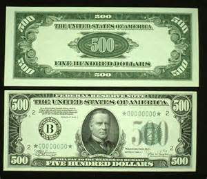 500 Dollar Bill Front and Back