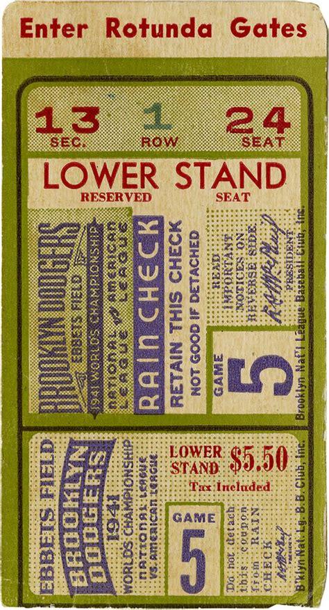 baseball ticket baseball dodgers 5 ticket stub to the 1941 world series the 1941
