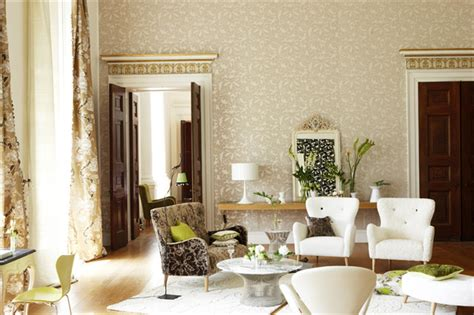 beige wallpaper contemporary living room other metro