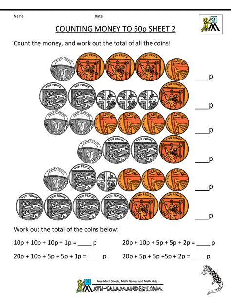 free money worksheets uk coins