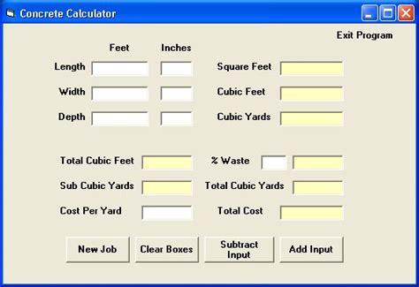 Cubic Yard Calculator Concrete Gallery