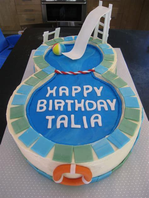 talias swimming pool cake   glass slipper
