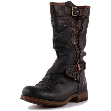 ladies biker boots mustang 1139 609 20 womens biker boots in dark grey