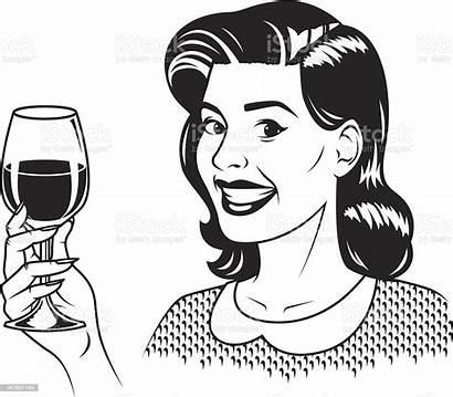 Wine Vector Retro Woman Drinking Illustrations Clip