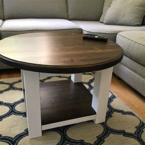 Wayfair were kind enough to send replacement parts but unfortunately they don't fit on this table.anyway we made it work. Round farmhouse coffee table with dark walnut stained top and lower shelf - reclaimed wood ...