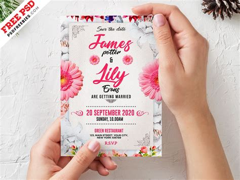 Wedding Invitation Card Template PSD by PSD Freebies on