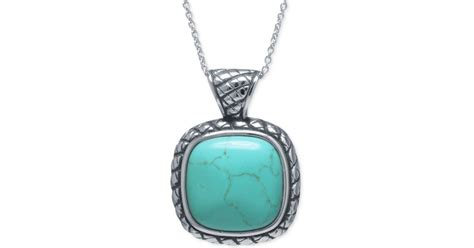 Macy's Manufactured Turquoise Square Pendant Necklace In Sterling Silver In Blue