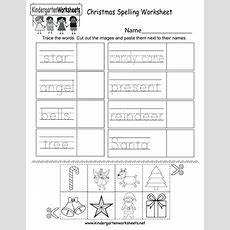 Christmas Spelling Worksheet  Free Kindergarten Holiday Worksheet For Kids
