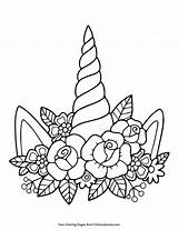 Unicorn Horn Flowers Coloring Unicorns Pdf Primarygames Printable Drawing Sheets Horns Adult Colouring Coloringpages Outline Zone sketch template