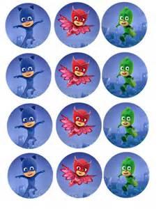 PJ Cupcake Toppers Printable Masks