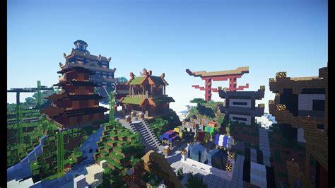 minecraft cinematic oriental japanese spawn town build youtube
