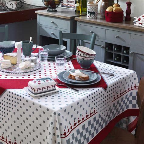 nappe de cuisine nappe carrée 100 coton à pois candide comptoir de