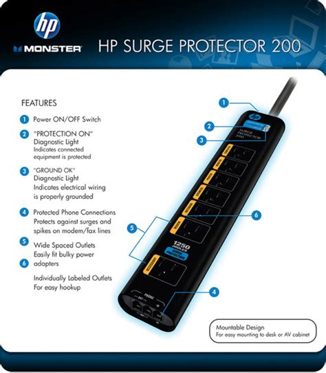 monster surge hp protector 1250 joules mdp outlets es power computer equipment damage amazon surges electronics protection