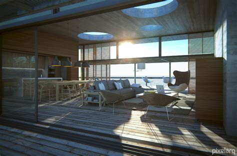 pool house beach interior   blender rendered