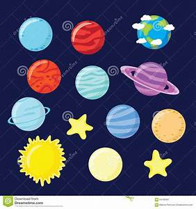 Set Of Planets, Stars, Sun And Moon Stock Illustration ...