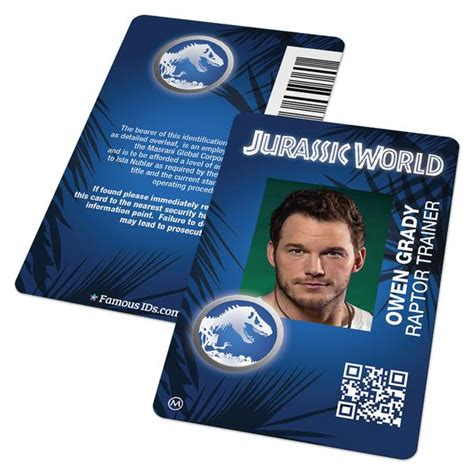 custom id card employee badge  jurassic world