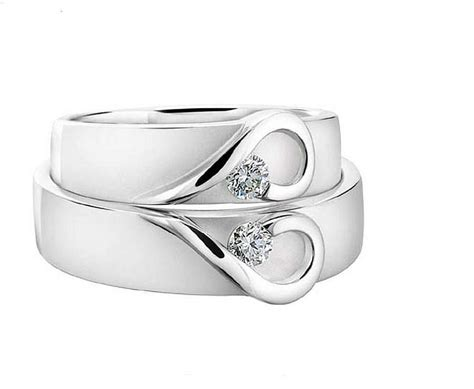 His And Hers White Gold Heart Wedding Bands By Diamond