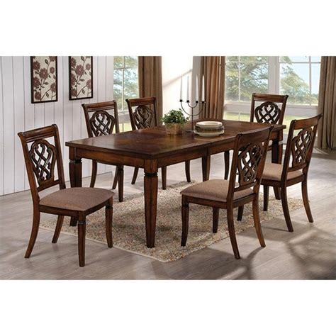 coaster 7 rectangular dining table and chair set in