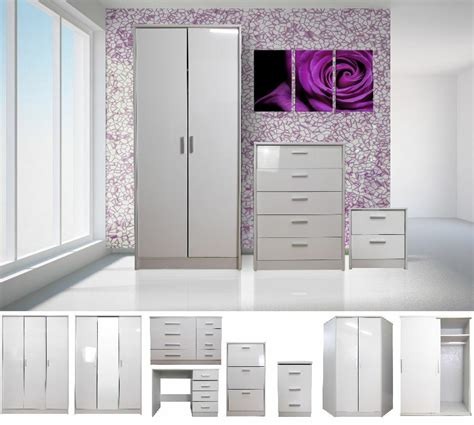 high gloss white bedroom furniture range wardrobe tallboy