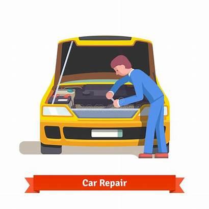 Mechanic Service Repairs Station Engine Hood Illustration