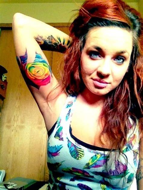 latest rainbow rose tattoo designs