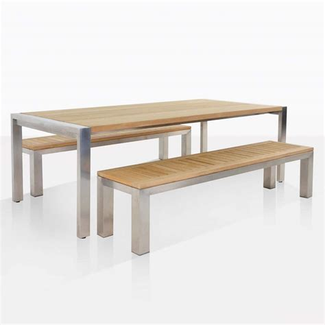 outdoor dining set teak table benches teak warehouse