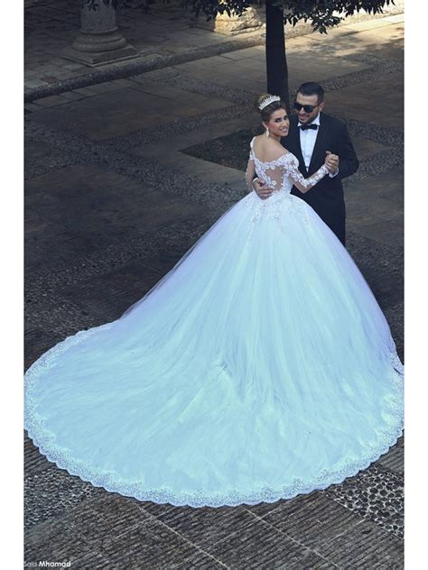 Ball Gown Long Sleeves Lace Wedding Dresses Bridal Gowns