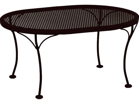 ow mesh wrought iron 34 x 24 oval coffee table 2434
