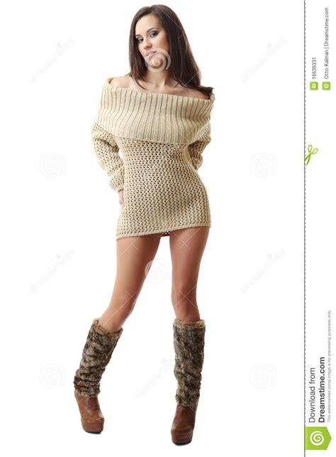 Brunette Woman Posing In Clothes Stock Image Image Of