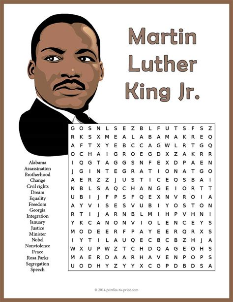 martin luther king jr worksheets word search martin luther king jr word search