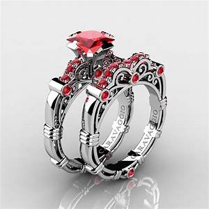 art masters caravaggio 14k white gold 125 ct princess With ruby wedding band rings