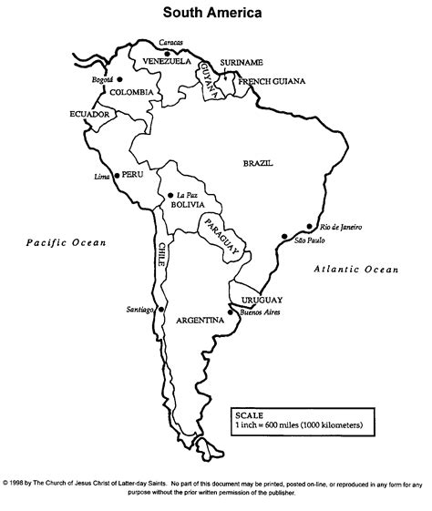 Printable Map Of South America Roundtripticketme