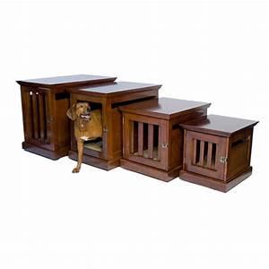 Denhaus townhaus wood dog crate furniture dog houses at for Wooden dog crate furniture