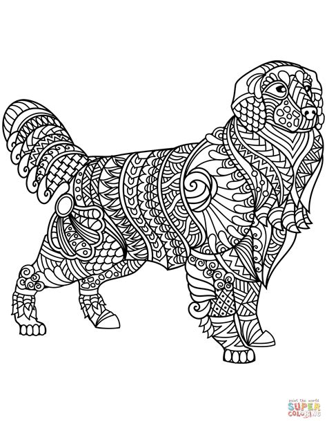 golden retriever zentangle coloring page  printable